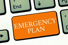 显示紧急办法的概念性手文字 企业照片反应的文本做法对主要的紧急事件是 库存照片