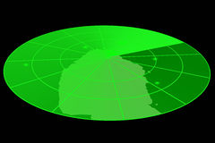 显示绿色雷达 免版税库存图片