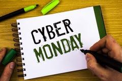 显示网络星期一的文字笔记 陈列特殊的拍卖的企业照片在黑星期五网上购物电子商务以后 库存图片