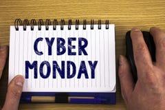 显示网络星期一的文本标志 概念性在黑星期五网上购物电子商务以后的照片特殊的拍卖 免版税库存图片