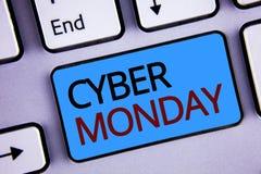 显示网络星期一的文本标志 概念性在黑星期五网上购物电子商务以后的照片特殊的拍卖 图库摄影
