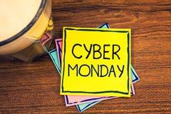 显示网络星期一的文本标志 概念性在黑星期五网上购物电子商务以后的照片特殊的拍卖 库存照片