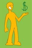 显示美元的符号的人 免版税库存图片