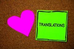 显示翻译的文字笔记 陈列翻译的书面或打印的过程企业照片措辞文本声音爱褐色 免版税库存照片
