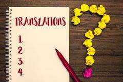 显示翻译的文本标志 概念性翻译的照片书面或打印的过程措辞文本声音笔记薄文书工作标记 免版税库存照片