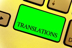 显示翻译的文本标志 概念性翻译词文本键盘键的声音关闭的照片书面或打印的过程 库存图片