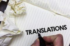 显示翻译的概念性手文字 陈列翻译的书面或打印的过程企业照片措辞文本声音 免版税库存图片