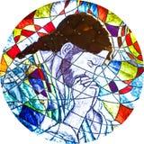 显示耶稣祈祷的彩色玻璃 库存照片