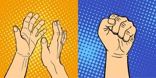 显示聋哑不同的姿态人的胳膊的手举行通信和方向设计拳头接触流行艺术样式 免版税库存图片