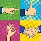 显示聋哑不同的姿态人的胳膊的手举行通信和方向设计拳头接触流行艺术样式 免版税库存照片