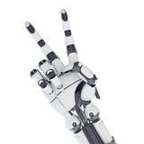 显示胜利的机器人胳膊 免版税库存图片