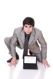显示膝上型计算机人的商业 免版税图库摄影