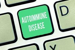 显示自体免疫病的概念性手文字 瞄准他们自己的身体的企业照片文本异常的抗体 库存图片