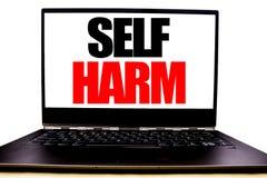 显示自已害处的手写的文本 企业在显示器前面屏幕写的Selfharm精神侵略的概念文字,白色 免版税库存图片