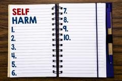 显示自已害处的文字文本 在笔记本便条纸写的Selfharm精神侵略的企业概念,木背景 免版税库存照片