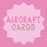 显示航空器货物的文字笔记 企业照片陈列的承运人航寄运输物品通过飞机 皇族释放例证