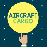 显示航空器货物的文字笔记 企业照片陈列的承运人航寄运输物品通过飞机 向量例证