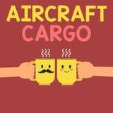 显示航空器货物的概念性手文字 企业照片文本承运人航寄运输物品通过飞机 皇族释放例证