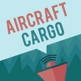 显示航空器货物的概念性手文字 企业照片陈列的承运人航寄运输物品通过飞机 皇族释放例证