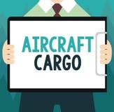 显示航空器货物的概念性手文字 企业照片陈列的承运人航寄运输物品通过飞机 向量例证