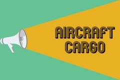 显示航空器货物的概念性手文字 企业照片陈列的承运人航寄运输物品通过飞机 库存例证