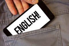显示英国诱导电话的文字笔记 陈列与英国相关它的人民或他们的语言人的企业照片ho 图库摄影