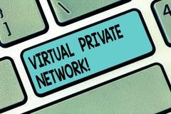 显示虚拟专用网络的文本标志 使用公开导线键盘键,被修建的概念性照片网络 图库摄影
