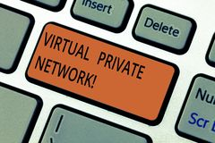 显示虚拟专用网络的文本标志 使用公开导线键盘键,被修建的概念性照片网络 免版税库存图片