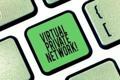 显示虚拟专用网络的概念性手文字 被修建的企业照片陈列的网络 皇族释放例证