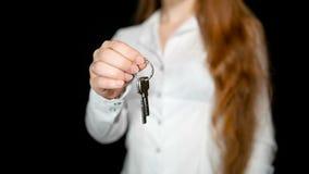 显示议院钥匙1的妇女 影视素材