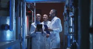 显示设备的科学家对同事 免版税库存照片