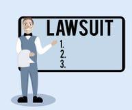 显示诉讼的概念性手文字 企业照片文本给法律法院大楼法律试验拍卖被带来的要求争执 皇族释放例证