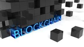 显示词blockchain的肥胖蓝色金属信件被围拢 免版税库存照片