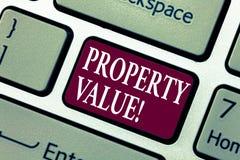 显示财产价值的概念性手文字 住宅价值不动产的企业照片陈列的估计 免版税库存照片