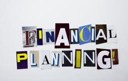 显示财政规划的概念词文字文本由企业案件的另外杂志报纸信件制成在whi 免版税库存图片