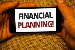 显示财政规划诱导电话的文本标志 概念性照片会计计划战略分析黄麻大袋背景 库存图片