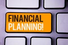 显示财政规划诱导电话的概念性手文字 企业照片文本会计计划战略分析Gra 免版税库存图片