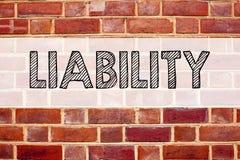 显示责任的概念性公告文本说明启发 责任法律责备的风险书面o企业概念 库存图片