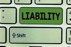 显示责任的概念性手文字 企业照片文本状态是法律上负责任的某事 免版税库存图片