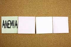 显示贫血症医疗诊断铁缺乏症的概念性手文字文本说明启发企业概念发育不全  免版税图库摄影