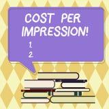 显示费用每个印象的文本标志 概念性照片提到登广告者有同意支付参差不齐的数字的率 向量例证