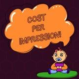 显示费用每个印象的文本标志 概念性照片提到登广告者有同意支付数字婴孩的率 库存例证