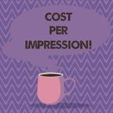 显示费用每个印象的文本标志 概念性照片提到登广告者有同意支付数字杯子的率 向量例证