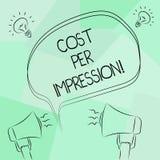 显示费用每个印象的概念性手文字 企业照片文本提到登广告者有同意支付的率 向量例证