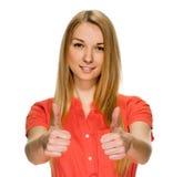 显示赞许妇女年轻人 免版税库存图片