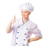 显示赞许的愉快的快乐的女性厨师 图库摄影