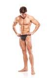 显示赤裸肌肉b的强的运动人健身模型躯干 免版税库存图片