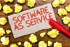 显示软件的文本标志作为服务 在要求时准许在订阅和在中心主持的概念性照片 库存照片