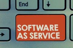 显示软件的文本标志作为服务 在要求时准许在订阅和在中心主持的概念性照片 免版税图库摄影