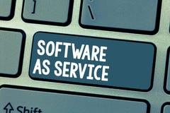 显示软件的文本标志作为服务 在要求时准许在订阅和在中心主持的概念性照片 免版税库存图片
